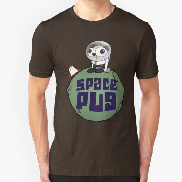 Space Pug Funny Cartoon Slim Fit T-Shirt