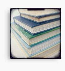 Pile of books - blue Canvas Print