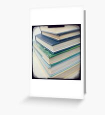Pile of books - blue Greeting Card