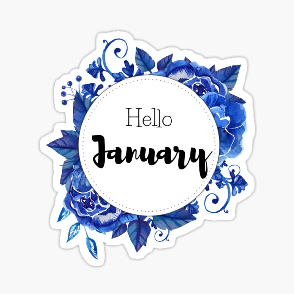 Hello January - monthly cover for planners, bullet journals,  Sticker