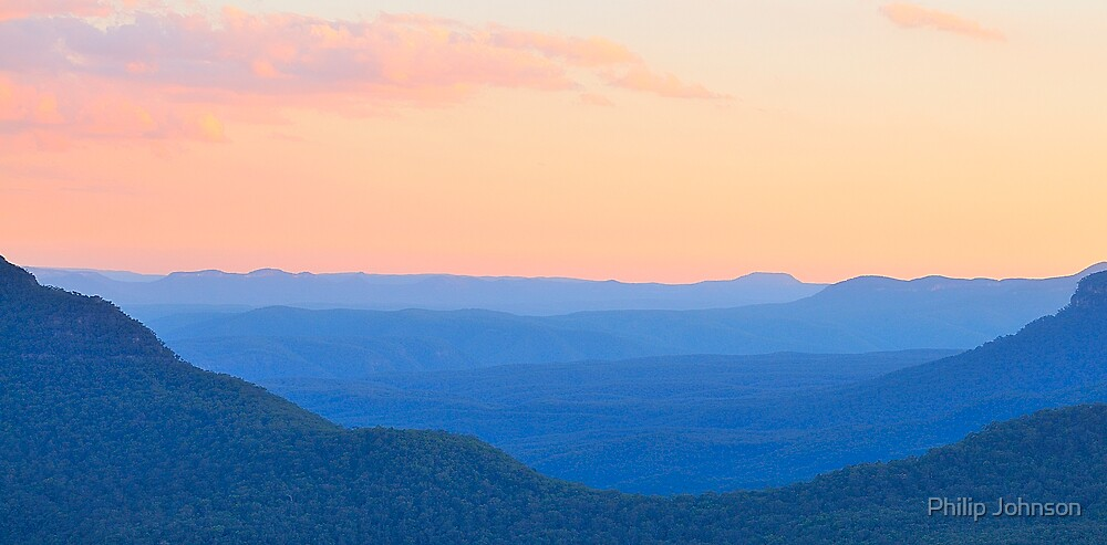 Watercolour Dusk Revisited - Blue Mountains World Heritage Area, Australia by Philip Johnson
