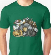 Sleeping pile of Staffordshire Bull Terriers Unisex T-Shirt