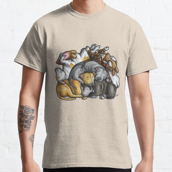 Sleeping pile of Staffordshire Bull Terriers Classic T-Shirt