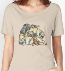 Sleeping pile of Pugs Women's Relaxed Fit T-Shirt
