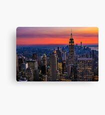 Sunset over Manhattan  Canvas Print