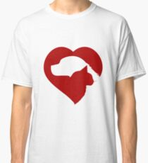 Pet Rescue Cat and Dog Red Heart of Love Classic T-Shirt
