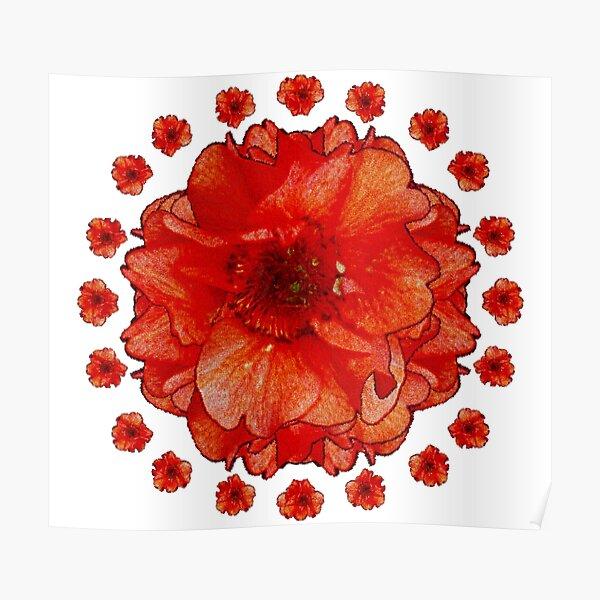Gardener Gift - Poppy Field Mandala - Round Floral Art - Red Flower Present Poster