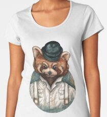 Cute Red Panda in Bowler hat Women's Premium T-Shirt