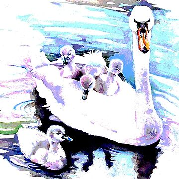 Swan and cygnets by PenelopeJane