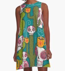 Skulls, Cacti and Atomic Coffee A-Line Dress
