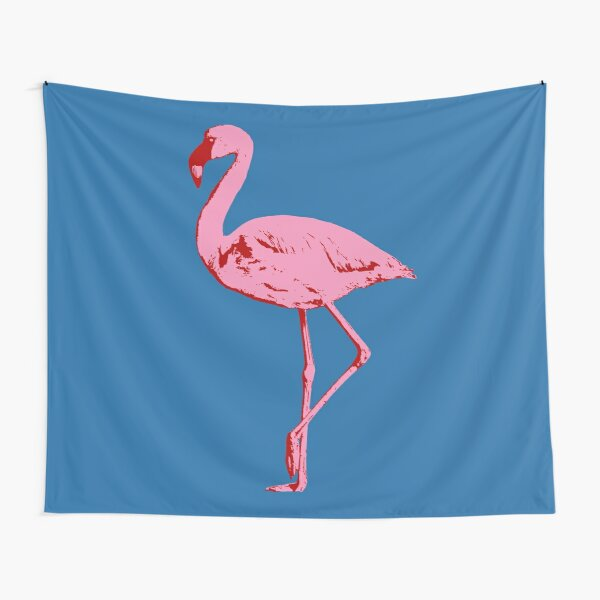 Elegant Flamingo in Bright Pink with Accents of Red Tapestry