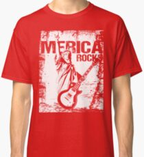Merica Rocks Statue of Liberty with Guitar Classic T-Shirt