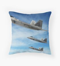 A three-ship formation of F-22 Raptors. Throw Pillow