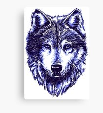 Timber Wolf - Blue Canvas Print