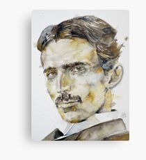 NIKOLA TESLA - watercolor portrait.6 Metal Print