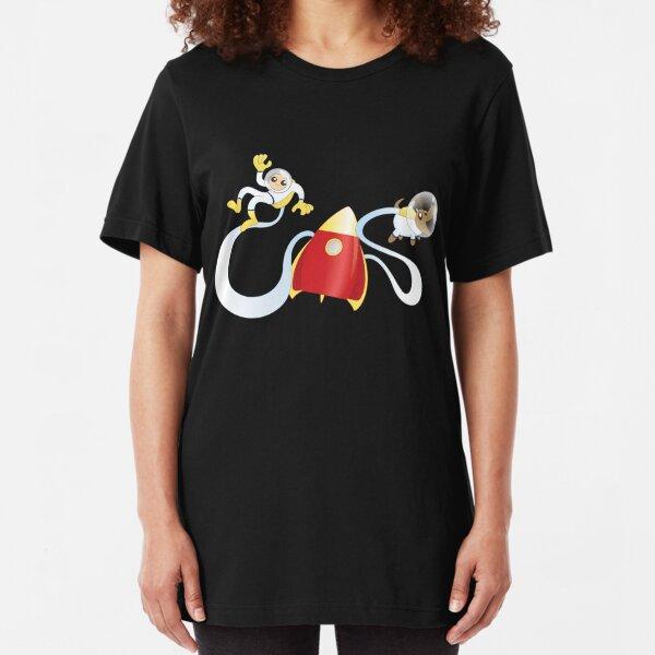 Cartoon Rocket Man and Dog Slim Fit T-Shirt