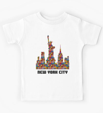 Statue of Liberty New York City Skyline Made With Lego Like Blocks Kids Clothes
