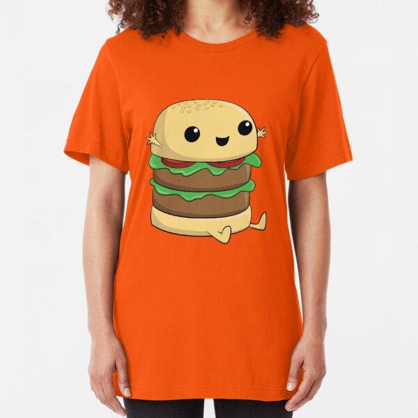 Kawaii Cute Cartoon Burger Slim Fit T-Shirt