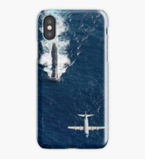 Two P-3 Orion maritime surveillance aircraft fly over attack submarine USS Houston. iPhone Case/Skin