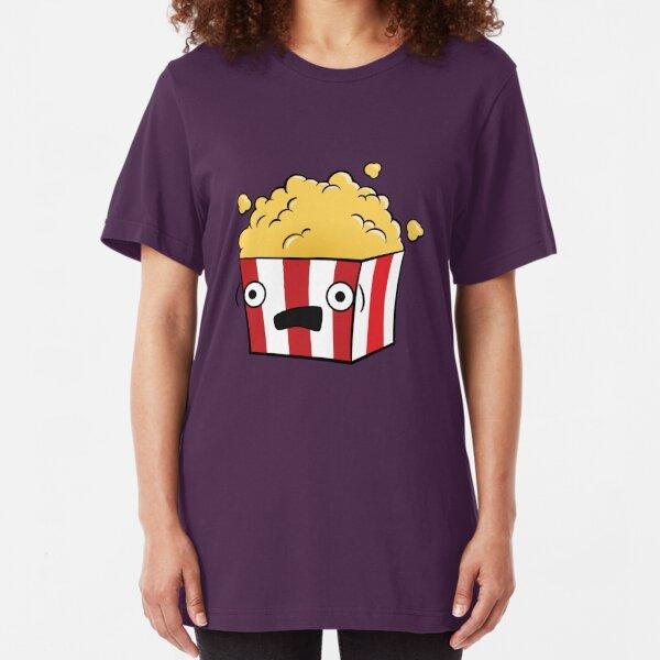 Cute Kawaii Cartoon Popcorn Slim Fit T-Shirt
