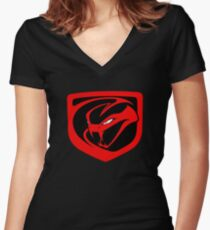 DODGE VIPER LOGO Women's Fitted V-Neck T-Shirt