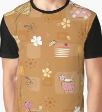 Mid-Century Hawaiian Cocktails Seamless Repeating Pattern on Mustard  Graphic T-Shirt
