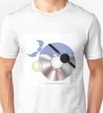 colorful illustration with pirate disc on white background Unisex T-Shirt