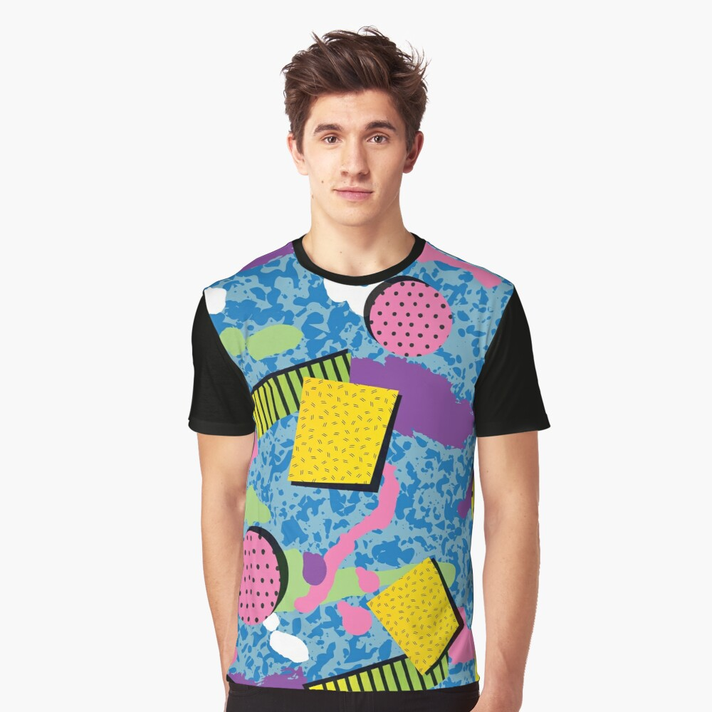 Full On Colors Dots and Strips Graphic T-Shirt Front