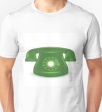 colorful illustration  with old green phone on white background T-Shirt