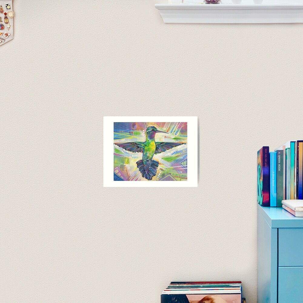 Warrior (Purple-throated mountaingem hummingbird) painting - 2016 Art Print