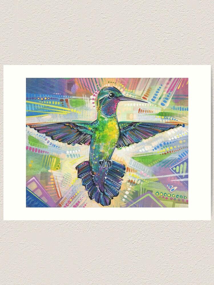 Alternate view of Warrior (Purple-throated mountaingem hummingbird) painting - 2016 Art Print