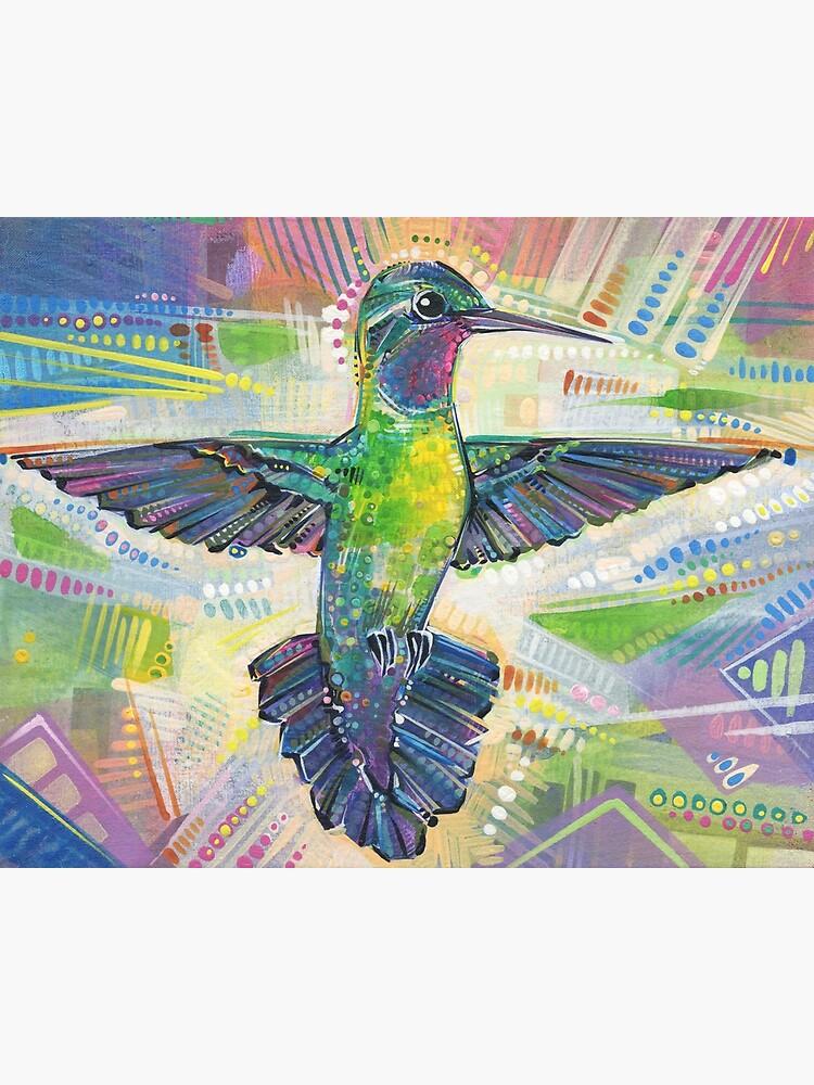 Warrior (Purple-throated mountaingem hummingbird) painting - 2016 by gwennpaints