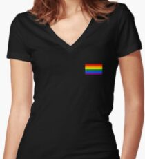 Gay Pride Flag - Minimalist T-Shirt Women's Fitted V-Neck T-Shirt