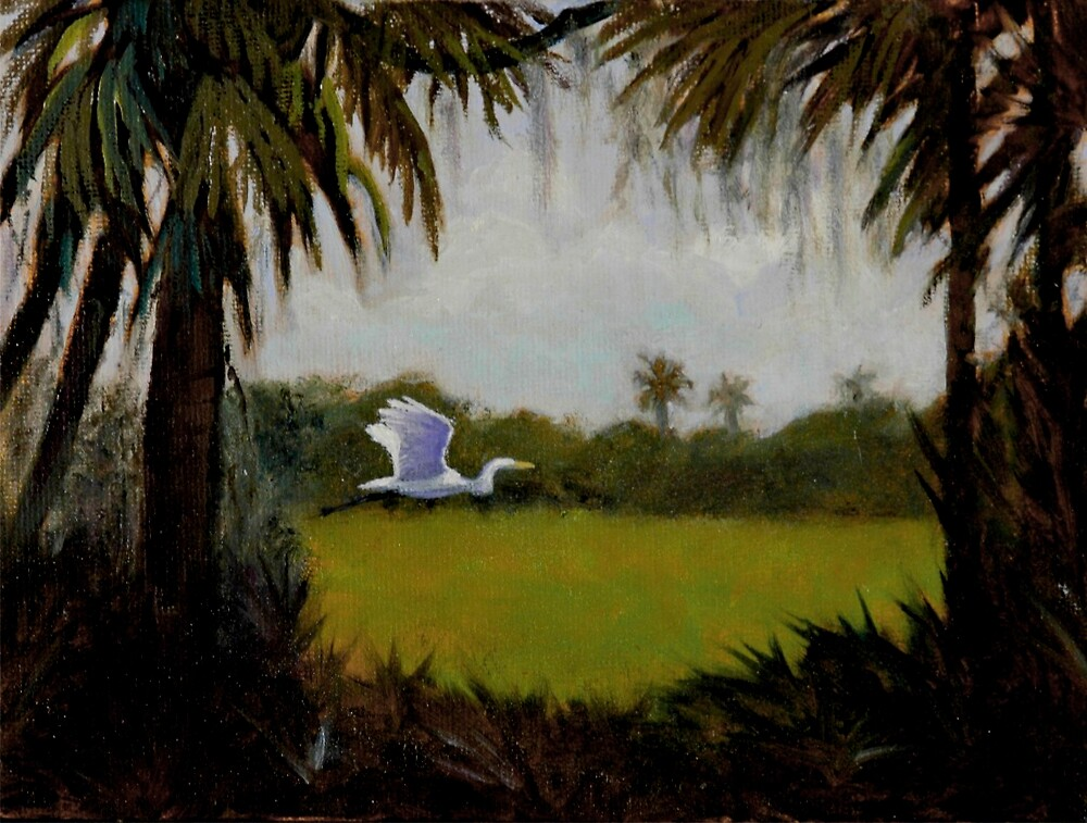 Egret and Swamp by artistinthewild
