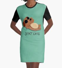 Don't Care Graphic T-Shirt Dress