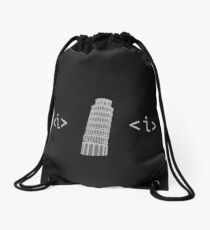 Web Developer Humour - Italic (Leaning) Tower Of Pisa  Drawstring Bag