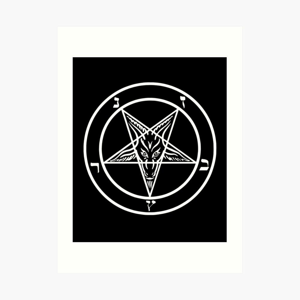 Inverted Pentagram mit Siegel von Baphomet Goat Head Kunstdruck