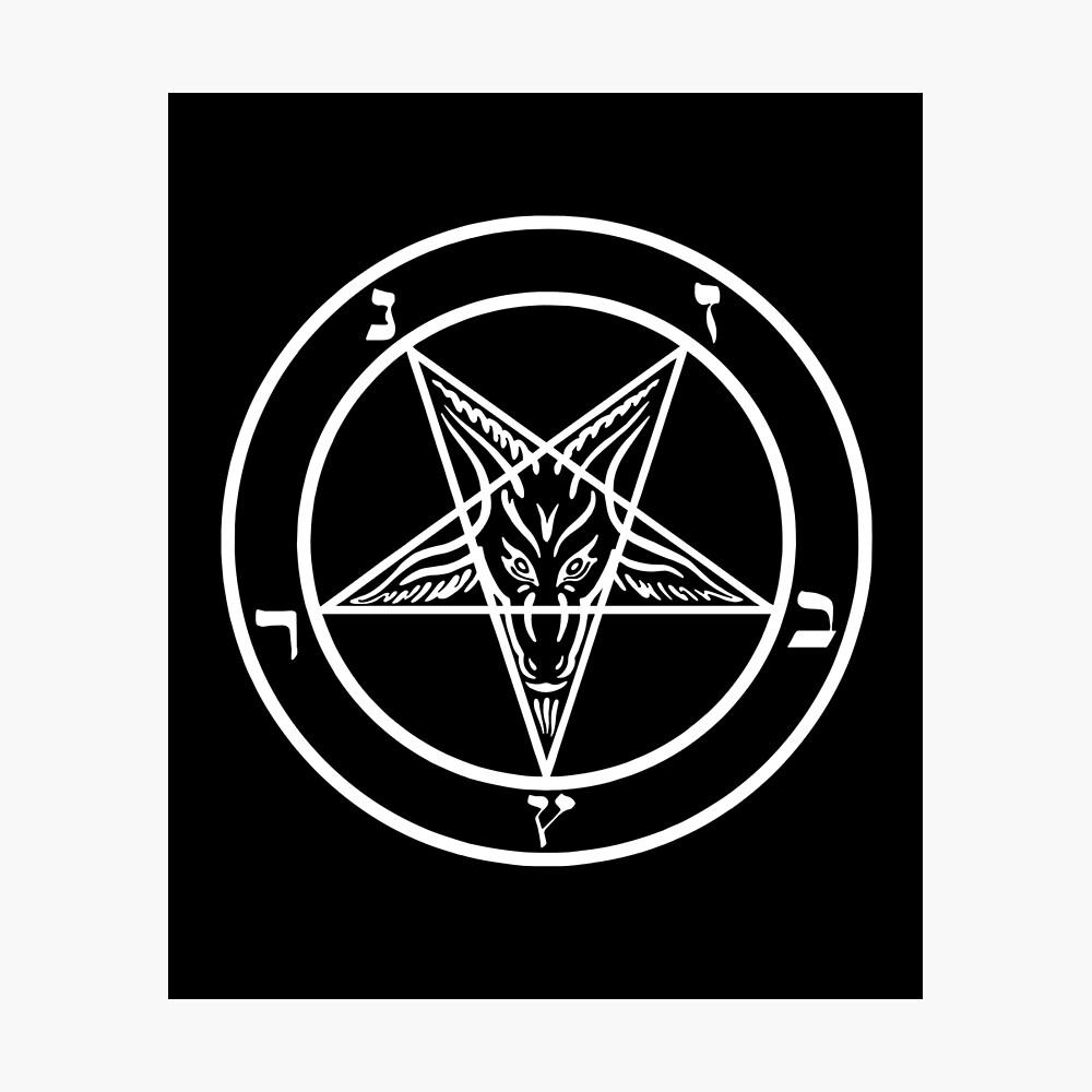 Inverted Pentagram mit Siegel von Baphomet Goat Head Fotodruck