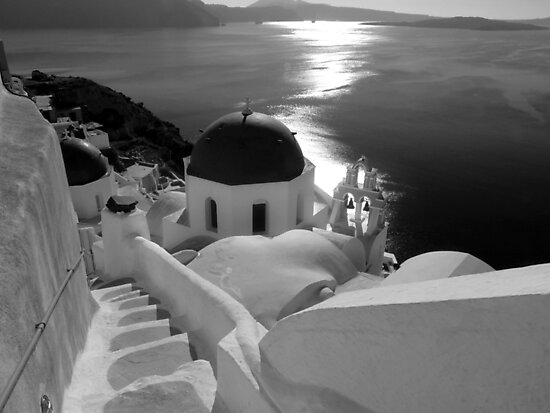 Stairway to Blue Domed Church ~ Black & White by Lucinda Walter