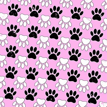 Black And White Dog Paw Print Pattern by Braznyc