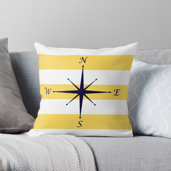 Navy Blue Compass On Mustard Yellow and White Stripes Throw Pillow