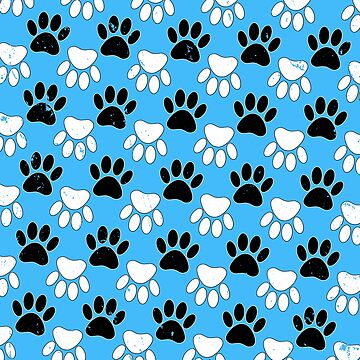 Distressed Black And White Dog Paw On Blue Background by Braznyc