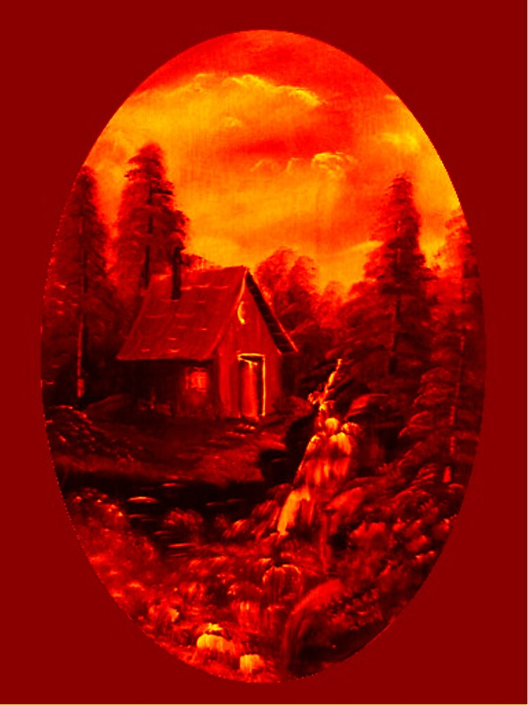 Camp by Falls in Red by Irene Clarke