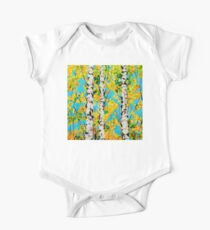 Aspen Gold Autumn Fall Colors Trees Forest Grove Rocky Mountains Quaking Quakes Beautiful Nature Landscape Yellow Orange Blue  One Piece - Short Sleeve