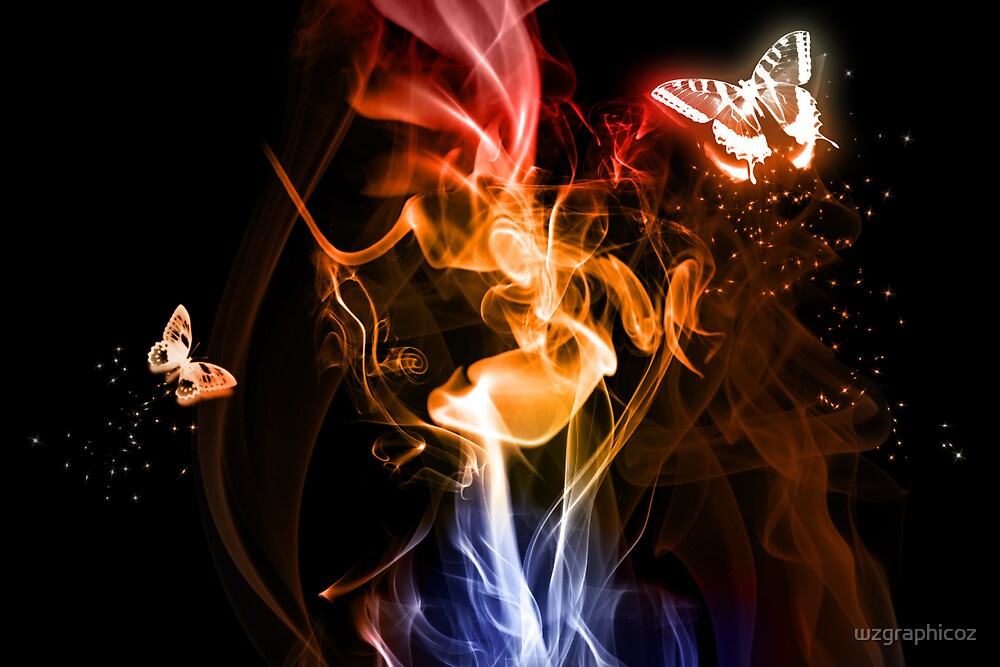 butterfly and fires by wzgraphicoz