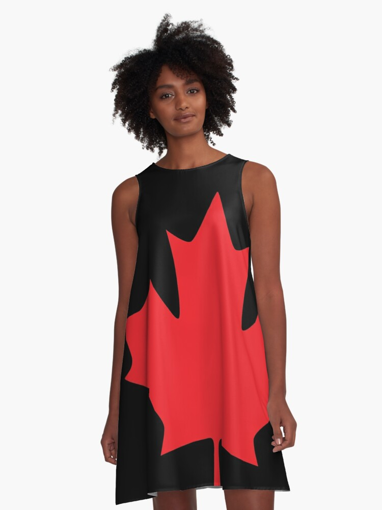 Canada - Maple Leaf (Red) A-Line Dress Front