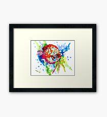 Rainbow Discus aquarium fish Artwork Framed Print