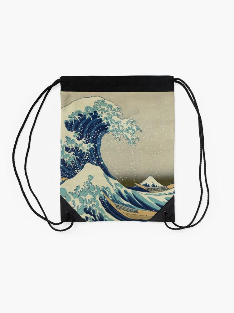 Alternate view of The Classic Japanese Great Wave off Kanagawa by Hokusai Drawstring Bag