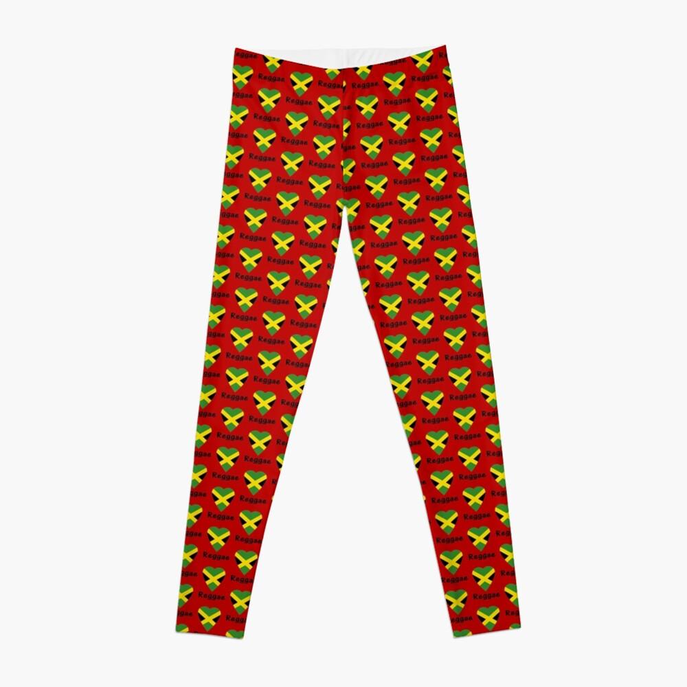 I love reggae music jamaica flag sticker leggings by deanworld redbubble