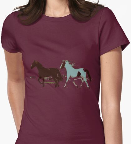 Running Horses Womens Fitted T-Shirt